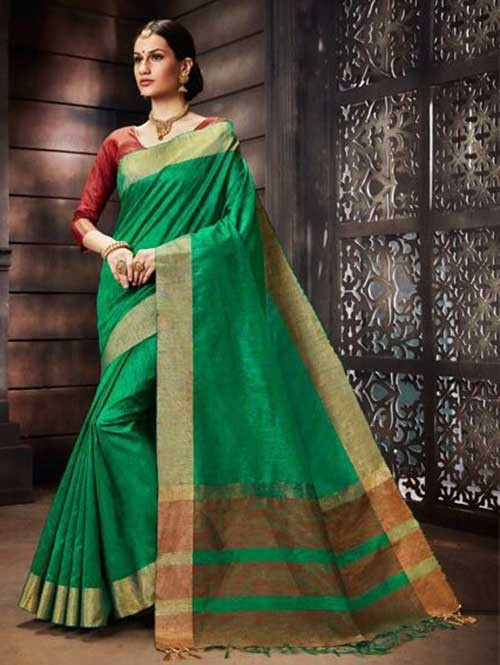 Green Colored Beautiful Raw Silk Saree With Double Blouse