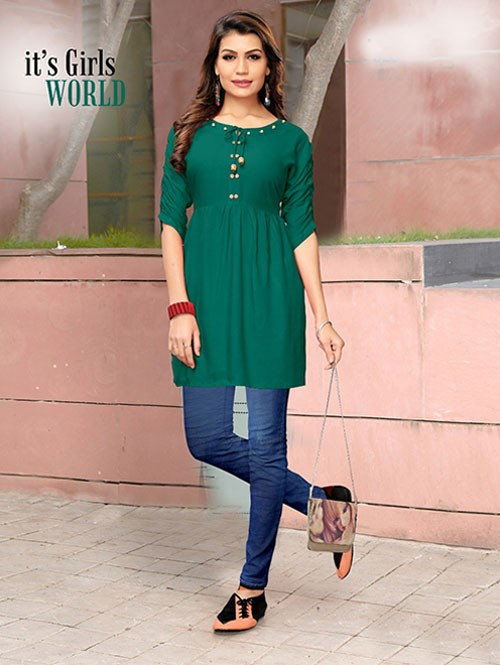Green Colored Beautiful Rayon Kurti With Fancy Wooden Button