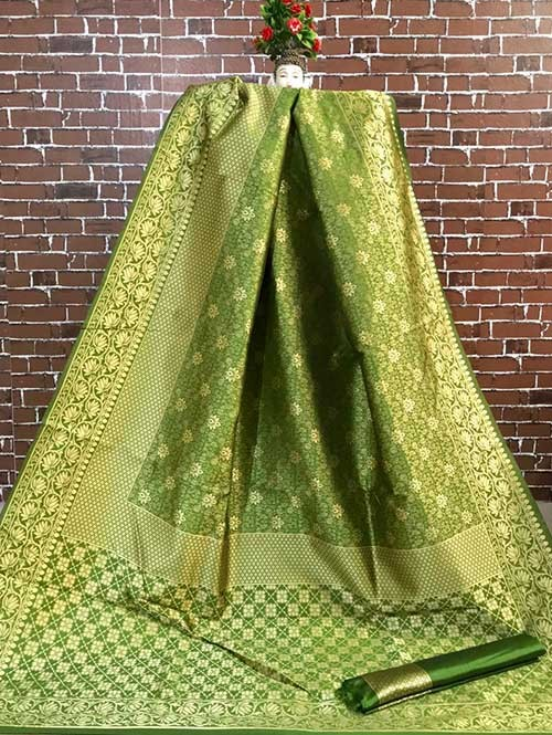 Green Colored Beautiful Soft Banarasi Silk Fancy Saree Online