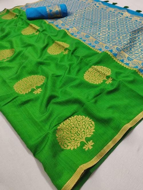Green Colored Beautiful Soft Banglory Silk With Rich Pallu Saree - Rajkumari