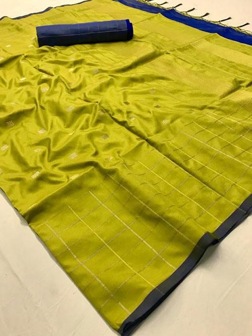 Green Colored Beautiful Soft Silk Fancy Saree Online - Mishika