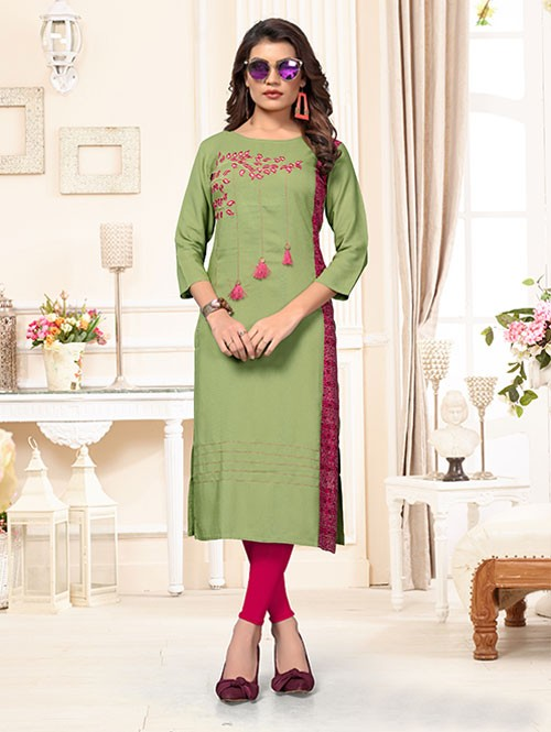 Green Colored Beautiful Straight Rayon Kurti with Embroidery & Printed