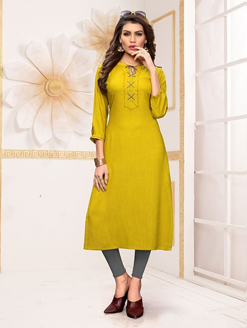 Green Colored Beautiful Straight Rayon Kurti with Handwork