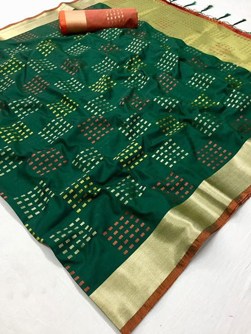 Green Colored Beautiful Thousand Butta Of Zari Soft Saree - Kangan