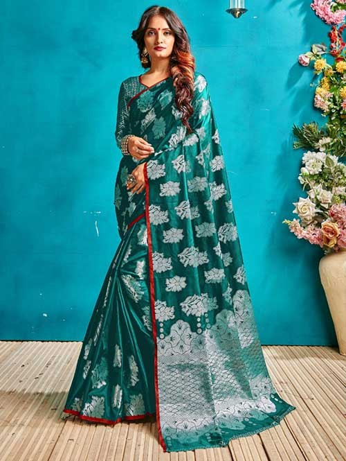 Green Colored Beautiful Weaving Banarasi Silk Saree - Silver