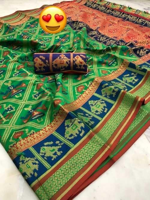 Green Colored Beautiful Weaving Silk Saree - Patola