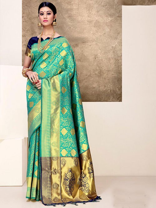 Green Colored Beautiful Weaving Silk Saree - Tanisi