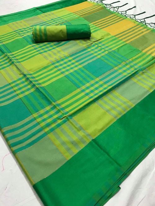Green Colored Beautiful Weaving Silk Saree - Tulika jashi