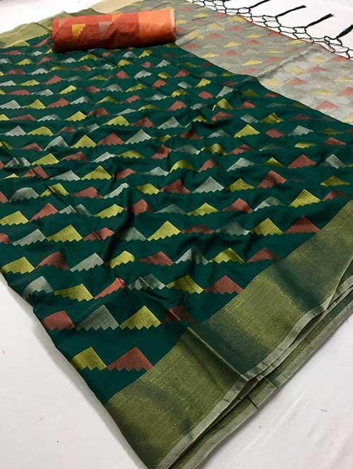 Green Colored Beautiful Weaving Silk Saree - Yutika