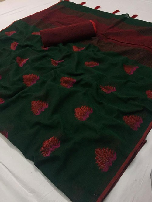Green Colored Beautiful Woven Linen Saree - Sandhya