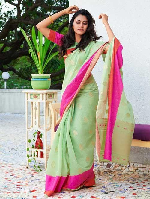 Green Colored Beautiful Woven Linen Silk Saree - Kavya
