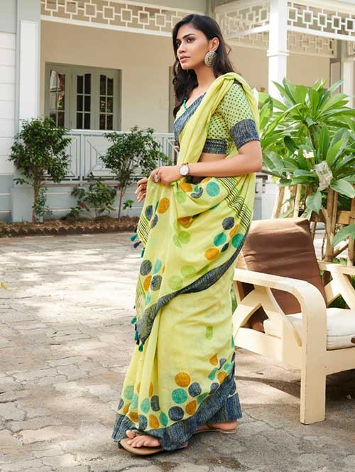 Green Colored Beautiful Woven Linen Silk Saree - Pearl