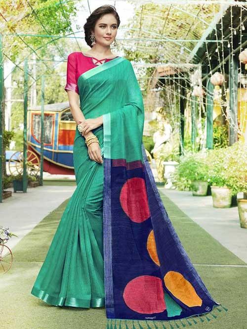 Green Colored Beautiful Zari weaving Linen Silk Traditional Saree