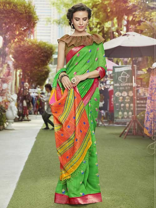 Green Colored Beautiful Zari weaving Linen Silk Traditional Saree