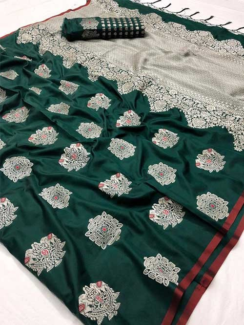 Green Colored Branded Soft Silk Saree - Resham
