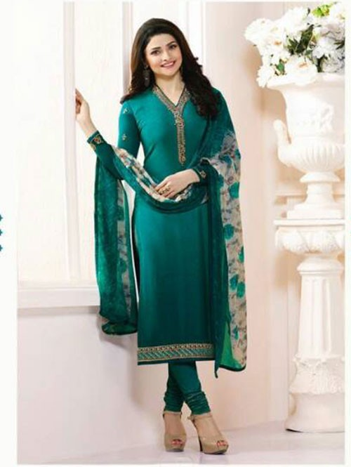 Green Colored Casual wear Beautiful Embroidered Crepe Suit