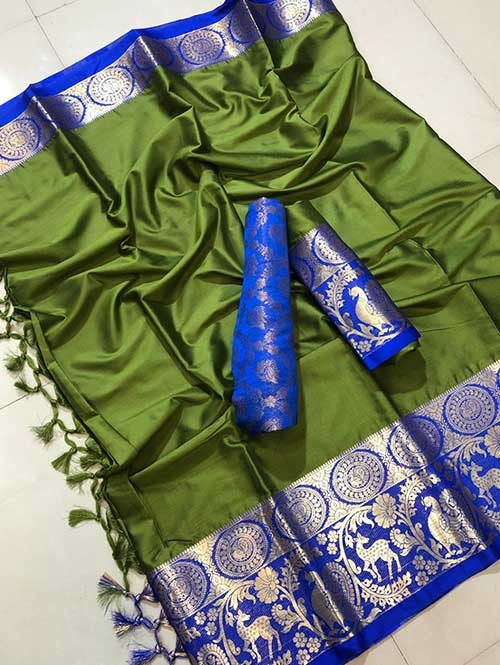 Green Colored Cotton Silk Saree- Amazon