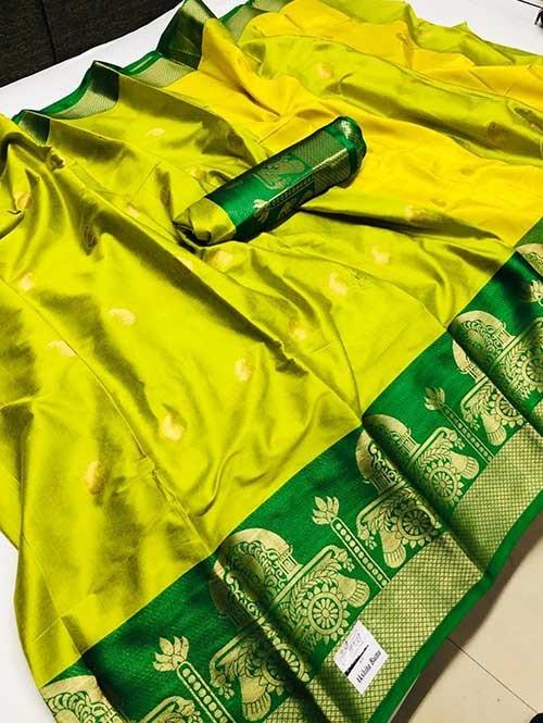 Green Colored Cotton Silk Saree - Ashika Butta