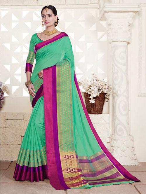Green Colored Cotton Silk Saree