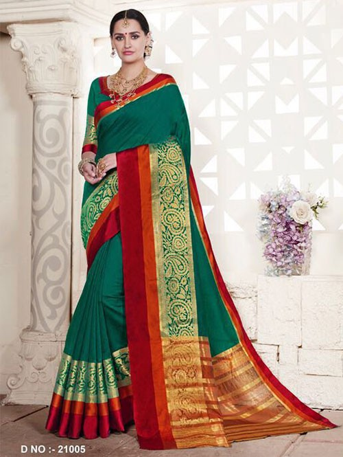 Green Colored Cotton Silk Saree