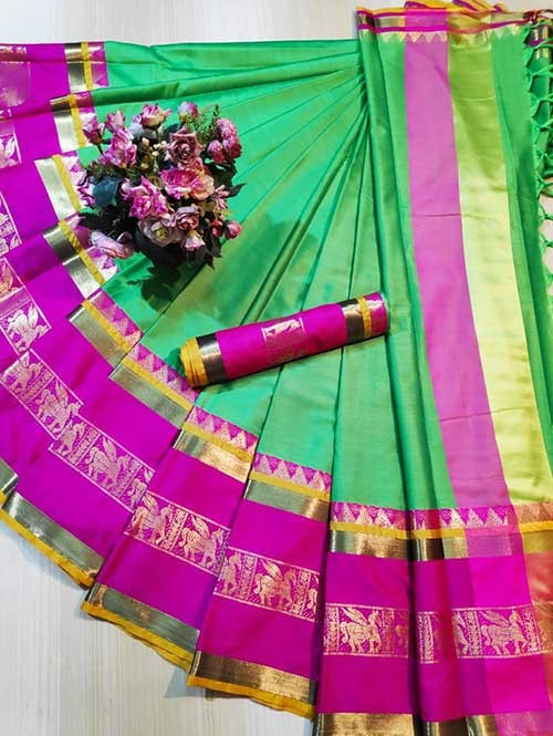 Green Colored Cotton Silk Saree - Horse