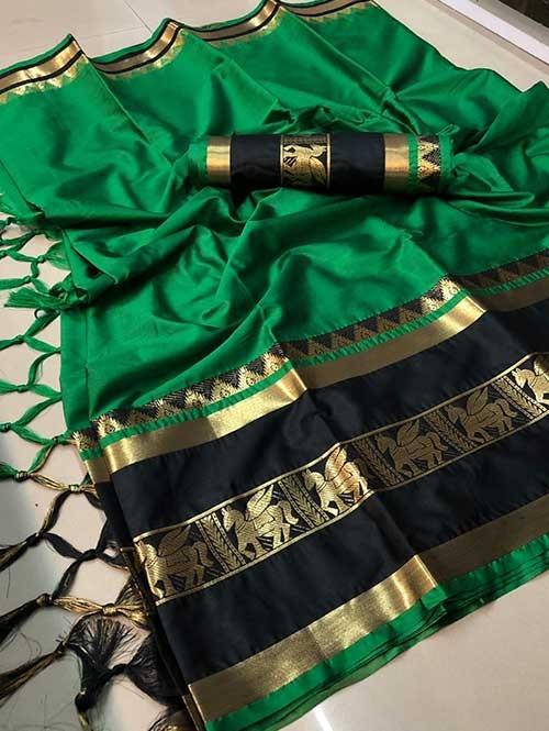 Green Colored Cotton Silk Saree - Horse