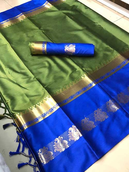 Green Colored Cotton Silk Saree - Karishma