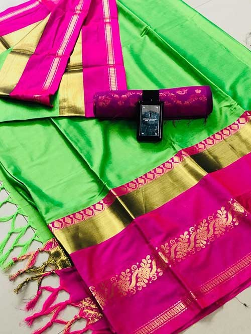Green Colored Cotton Silk Saree - Payal