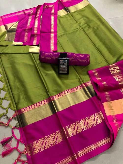 Green Colored Cotton Silk Saree - Payal
