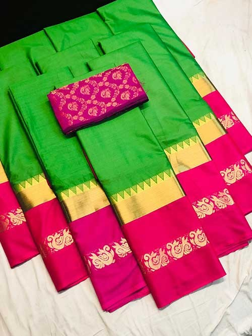 Green Colored Cotton Silk Saree with Extra Blouse - Priya