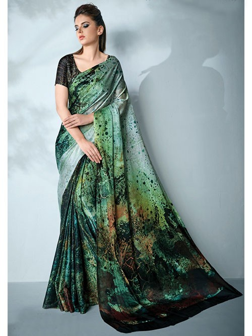 Green Colored Digital Printed Cotton Bladed Saree