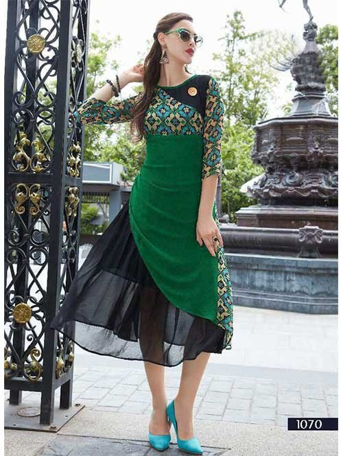 Green Colored Embroidered Georgette Designer Original Kurti
