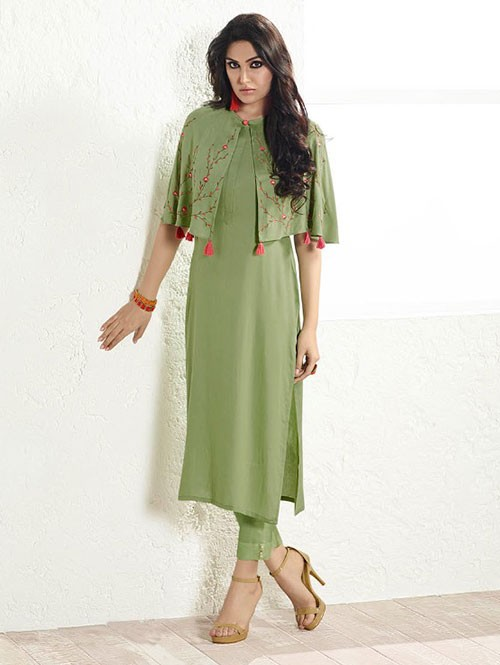 Green Colored Embroidered Rayon Kurti With Poncho