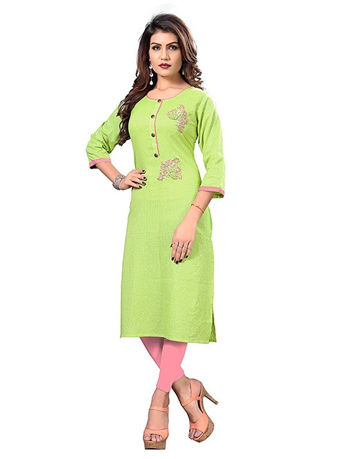Green Colored Embroidered Straight Cotton Kurti Online