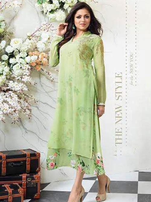 Green Colored Georgette Embroidered Kurti