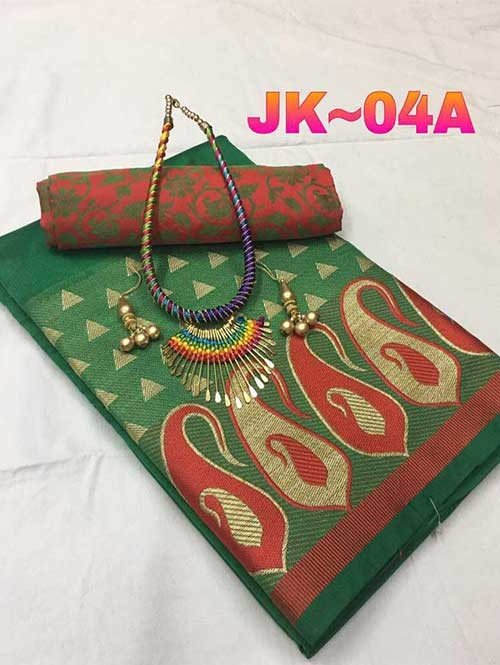 Green Colored Gorgeous Saree With Fancy NeckLess