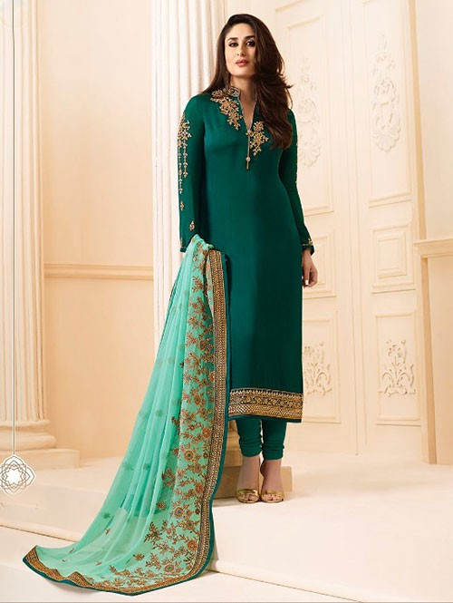 Green Colored Heavy Embroidered Georgette Salwar Suit