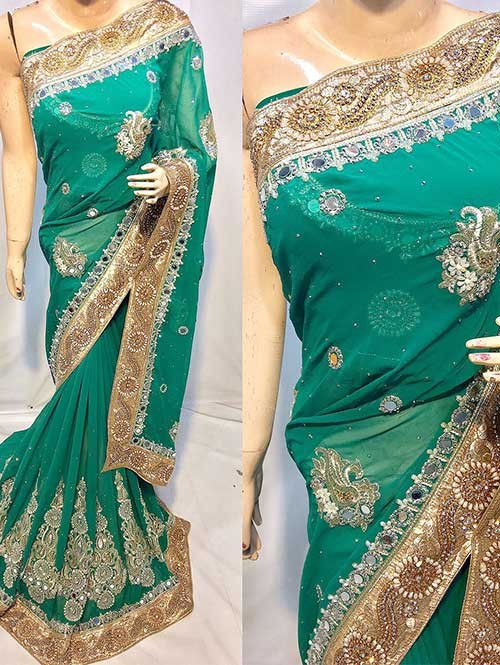 Green Colored Heavy Embroidered Georgette Saree With Beautiful Mirror-work and Stonework