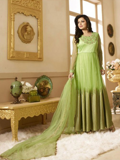 Green Colored Heavy Embroidered Net Salwar Suit