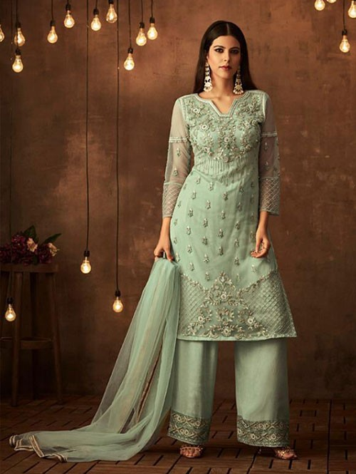 Green Colored Heavy Embroidered Original Palazzo Suit Material