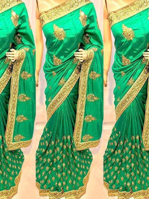 Green Colored Heavy Embroidered Pure silk Saree