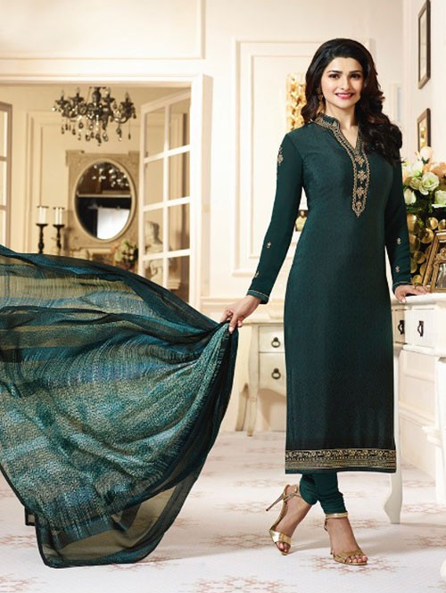 Green Colored Heavy Embroidered Royal Crepe Salwar Suit
