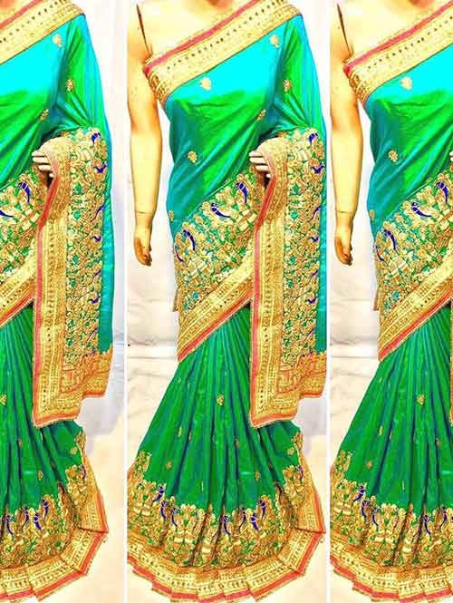 Green Colored Heavy Embroidered Soft Silk Saree