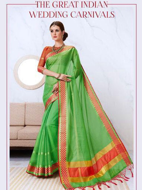 Green Colored Kota Silk Saree