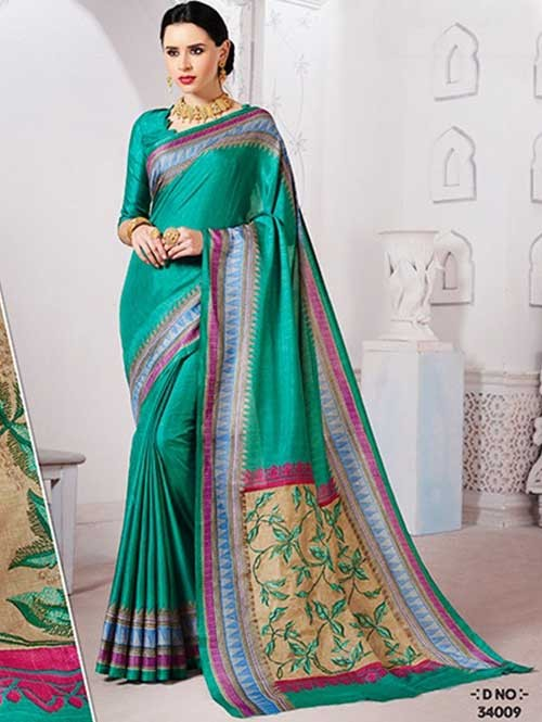 Green Colored Manipuri Silk Saree with Beautiful Embroidered on Pallu