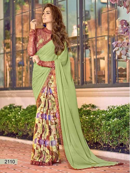 Green Colored chiffon and Faux Georgette Printed Saree With Beautiful Blouse