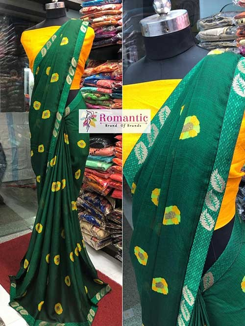 Green Colored Printed Moss Chiffon Saree With Beautiful Border