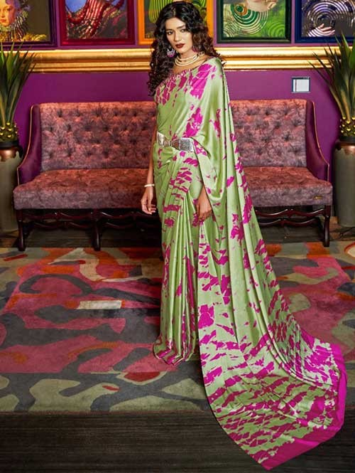 Green Colored Printed Satin Japanese Crepe Saree in Best Qaulity - Kshwetlana