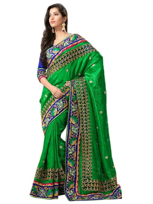 Green Colored Pure Georgette Designer Saree with beautiful Embroidery