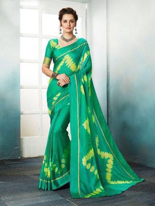 Green Colored Shibori Printed Kota Silk Saree